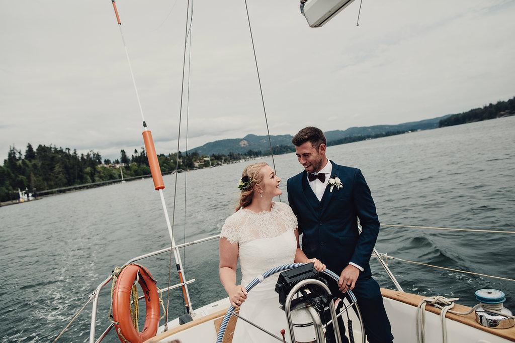 Sailboat wedding in Sooke outside Victoria, BC
