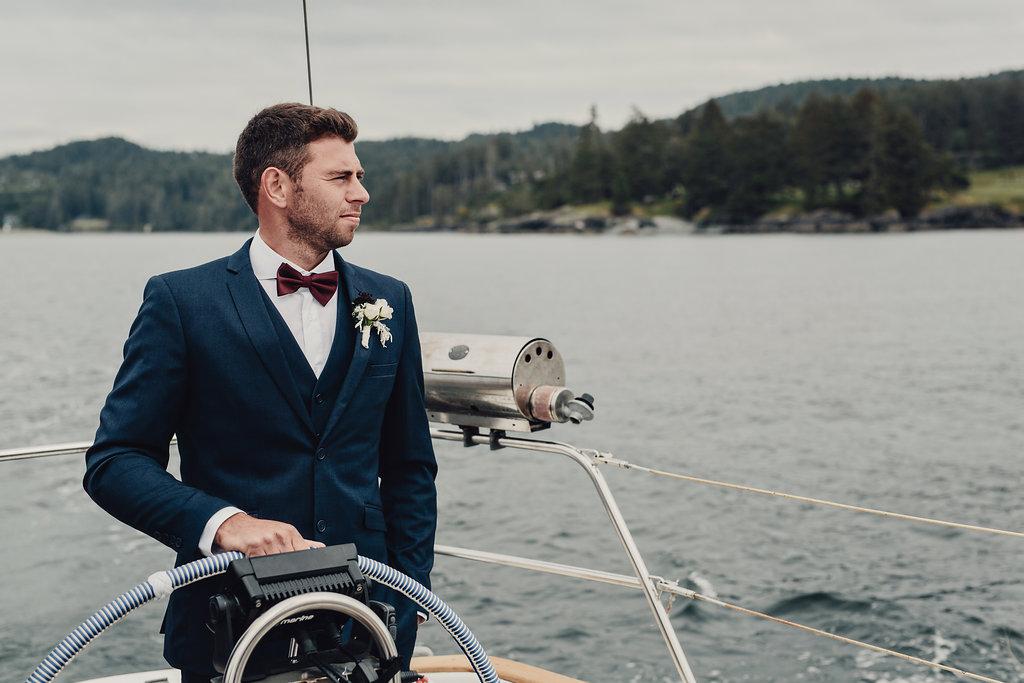 Vancouver Island wedding groom in navy tux